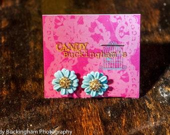 Blue Daisy Stud Earrings