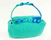 Felted Aquamarine Handbag, Small green bag, Blue handle Art Nouveau purse, Wire Wrapped rigid Strap, Turquoise knitted tote, Light blue bag