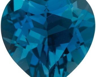 2.3 Ct Natural London Blue Topaz Gemstone Faceted Heart Size 8 mm