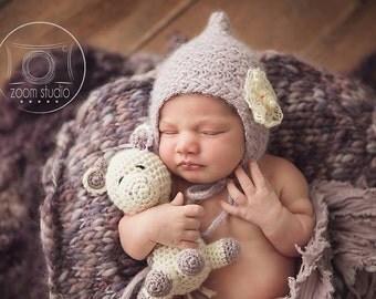 baby handknit hat photo props