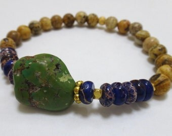 Tiger Eye Beaded Bracelet with Green Turquoise Gemstone, Dark Purple/Blue Rondelle Beads and Gold Spacers