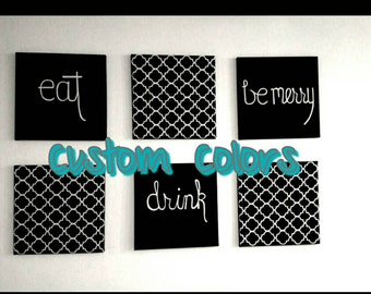 Moroccan Inspired Eat Drink Be Merry Signs. Custom colors. Make great shower and housewarming gifts.