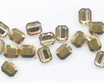 12 amazingly rare vintage Swarovski crystal beads -- Art. 367/5106 - shiny gold crystal comet OR - 8 x 6.5 mm
