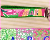 Lilly  Inspired Key Fob // Lilly Inspired Key Chain // Lilly Inspired Wristlet // Lilly Inspired Fabric // Chi Omega