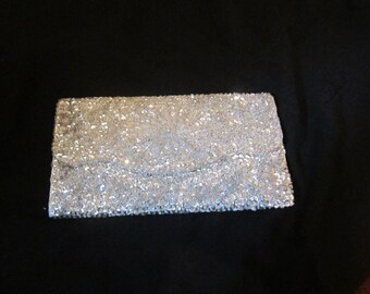 Silver Sequin Clutch Evening Bag