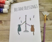Beltane Blessings Wiccan, Pagan Sabbats Greetings Card. Perfect card for men, women, children. Inspirational, uplifting, whimsical art card.