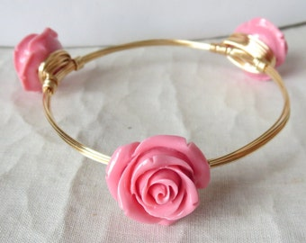 "Large Pink Coral Rose Bangle Bracelet ""Bourbon and Bowties"" Inspired"