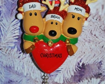 Personalized Family of 3 Reindeer Christmas Ornament