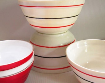 Vintage Red White Vitrock Milk Glass Mixing Bowl Lot of 6
