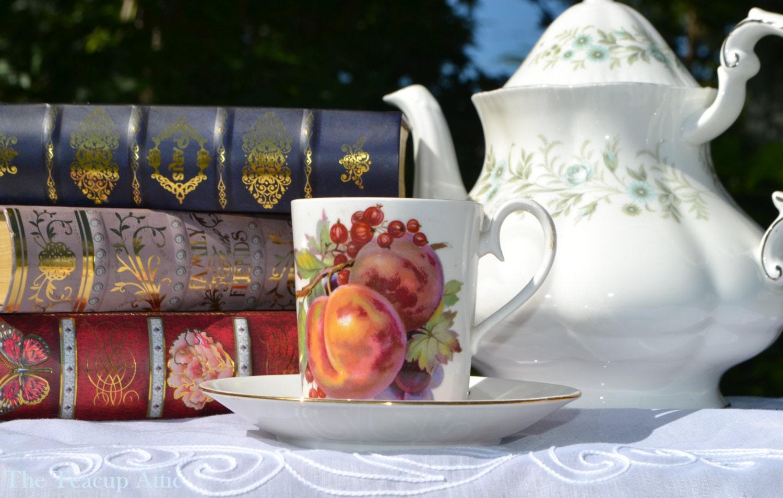 "Royal Albert ""Covent Garden"" Can Shaped Demitasse Set, English Bone China Miniature Tea Cup Set, c. 1970-1980"