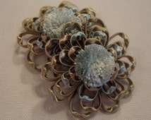 """One Pair Mist Blue & Taupe """"FLEUR DELICATE"""" French Passementerie Rosette Trim Fringe - 3 Pairs Available - Free Shipping"""