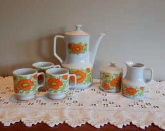 Vintage Tea Set Mod Orange Teapot Creamer and Sugar Floral 8 piece 1970's Retro Kitchen