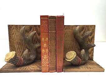 Rustic Ski Lodge Mountain Cabin Home Decor - Faux Antler Bookends, Unique Christmas Gift For Man Guy DAD, BOOKENDS For Bookshelf, Antlers