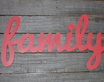 Unpainted family wood sign