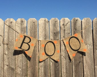 BOO GARLAND, Boo Sign, Halloween Banner, Halloween Burlap Banner, Halloween Decorations, Halloween Signs, Rustic Halloween Decor