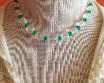 Free Shipping: Vintage Art Deco Necklace - Faceted Crystal and Green Peking Glass Beads