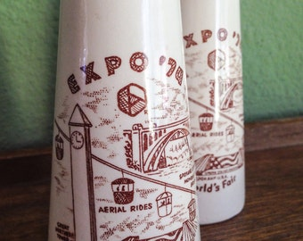 Authentic Souvenir Salt and Pepper Shakers 1974 World's Fair - Spokane, WA