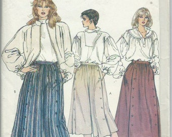 Vintage Misses' Culottes and Skirt 'Gaucho Style' Vogue 8398