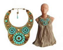 High fasion bead etnic embroidery necklace - hand made jewelry bold and unusual - AFRICAN SUMMER