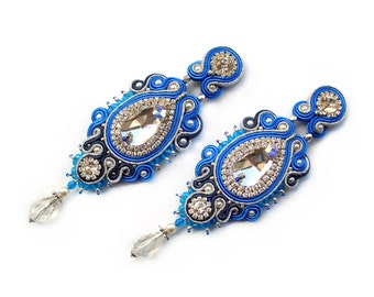 Soutache fancy wedding unusual earrings  - elegant and romantic hand made jewelry for bride - Alexandra I