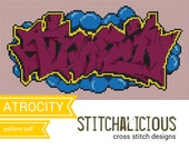 Atrocity - Graffiti Cross Stitch Pattern - Pink