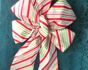 Red, Green and White Stripe Bow / Stripe Bow / Christmas Bow / Tree Topper Bow / Wreath Bow / Christmas Tree Bow