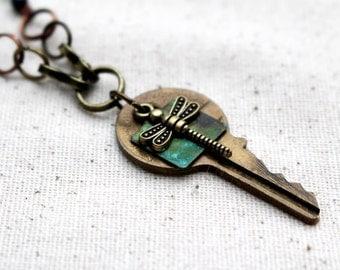 Recycled Key Pendant Necklace Green Bead Necklace Dragonfly Pendant Handmade Beaded Jewelry Long Boho Bohemian Hippie