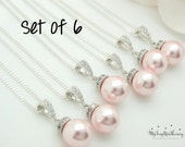 Set of 6 Pink Pearl necklace Light Pink Pearl Jewelry Bridesmaid Jewelry Bridal necklace Grey Pearl Wedding Jewelry Set 10% Off