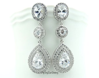 Bridal Earrings Wedding Earrings Large Clear White Drop Oval and Round Cubic Zirconia Drops Post Earrings