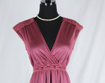 Vintage Miss Elaine Nightgown Nylon and Lace Burgundy Maroon Small