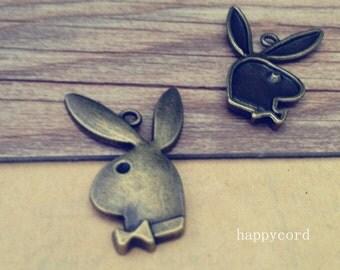 10pcs Antique Bronze  rabbit  Pendant Charms 21mmx32mm