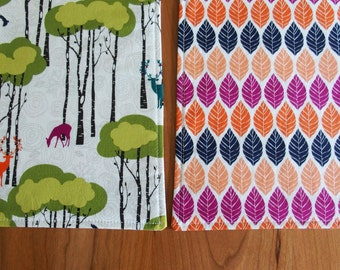 Woodland Placemats (2), Fall Placemats, Deer and Leaves Placemats in Orange, Violet, Lime Green and Navy, Michael Miller Rustique