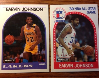 Magic Johnson 1989 Los Angeles Lakers Basketball Cards Vintage HOF Nice