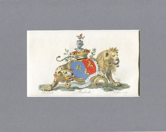 Heraldry - Pembroke Coat of Arms - English Aristocracy - Hand colored Copperplate Engraving - 1790 Armorial Engraving - British Peerage