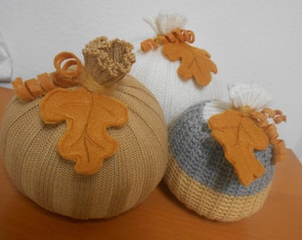 Handmade Sweater Pumpkins, 3 Soft Fabric Pumpkin Sculptures, Fall Halloween Decor Centerpieces