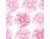 100 Pink Floral Paper Bags, 4x6 inches with Pink Flowers on White Paper - Flat Merchandise Bags