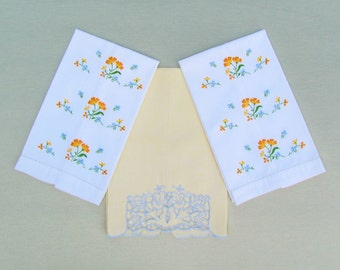 Vintage embroidered towels, lot of 3 yellow and blue tea towels, embroidered kitchen towels
