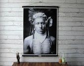 Vintage Native American Portrait Pull Down Chart Reproduction with Canvas Print and Oak Wood Poster and Brass Hanger / Little Daylight