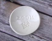 Ring Holder - Handmade Ring Dish with BOOM and celebration emoji.  Ceramic jewelry holder, tiny ring holder, ring dish, celebration