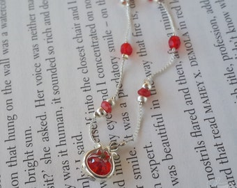 Pomegranate crystal charm necklace