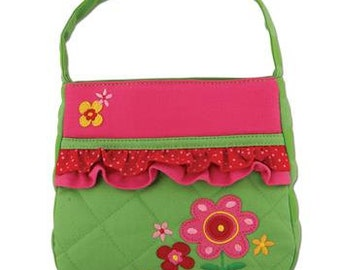 Personalized Stephen Joseph Quilted Ruffle Flower Purse with FREE Embroidery