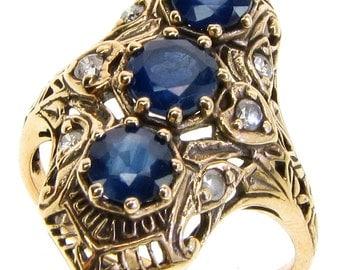 Vintage Sapphire & Diamond Ring, Solid Yellow Gold, Avail 14K 18K Platinum, Antique Sapphire Ring, R122 Custom
