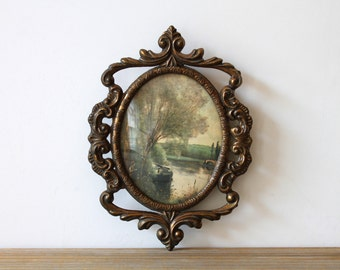 Vintage cottage chic brass frame wall decor / romantic country cottage / Victorian style / Italian pastoral image ornate wall decor frame
