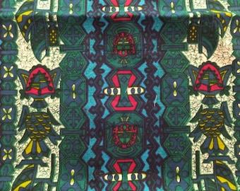Vintage 1960's Barkcloth Material Fabric Yardage
