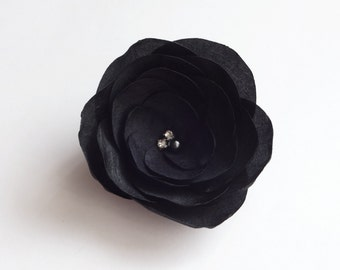 Black Silk Flower Embellishment, Hair Pin, Brooch Pin