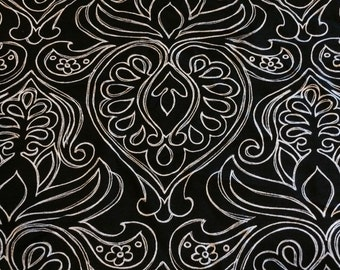 """White on Black medallion poly lycra fabric 58"""" wide sold by the yard"""