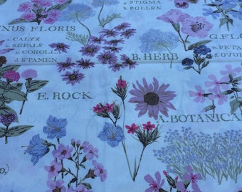 "Vintage 1940-1950 Botanical print 100% cotton chintz fabric 36"" wide sold by the yard"