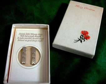 Vintage Lingerie Clasps Wilsnap 1920's Merry Christmas Gift Boxed with Verse a Ladies Lingerie Accessory