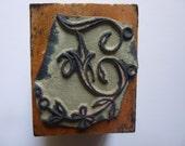 Antique vintage French Printing Block Initial Letter Monogram Rubber Stamp J