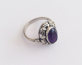 Art Nouveau, Amethyst Ring, 835 European Silver, Vintage Jewelry SPRING SALE